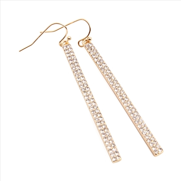 Rhinestone Bar Drop Earrings - Gold