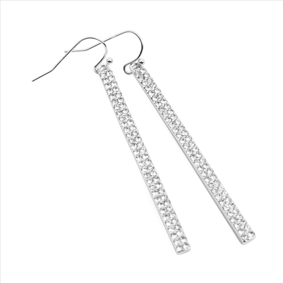 Rhinestone Bar Drop Earrings - Silver