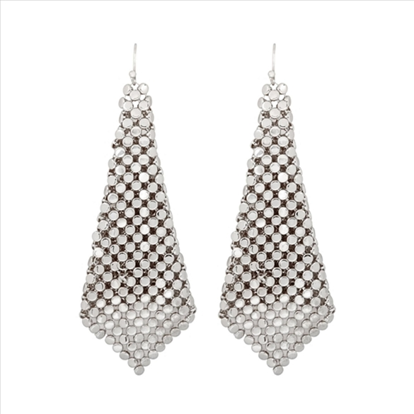 Textured Cone Drop Earrings - Silver