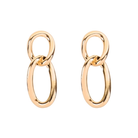 Oval Link Twist Post Earrings - Gold