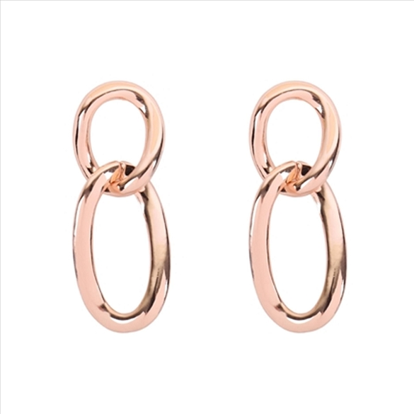Oval Link Twist Post Earrings - Rose Gold