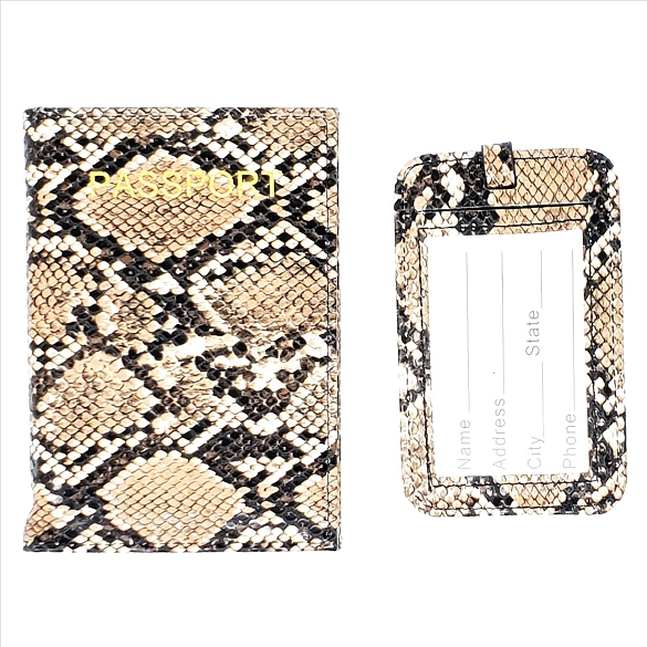 Snake Print Passport Cover and Luggage Tag