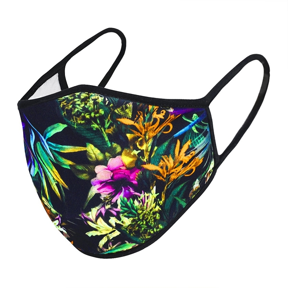 Tropical Black Print Face Mask