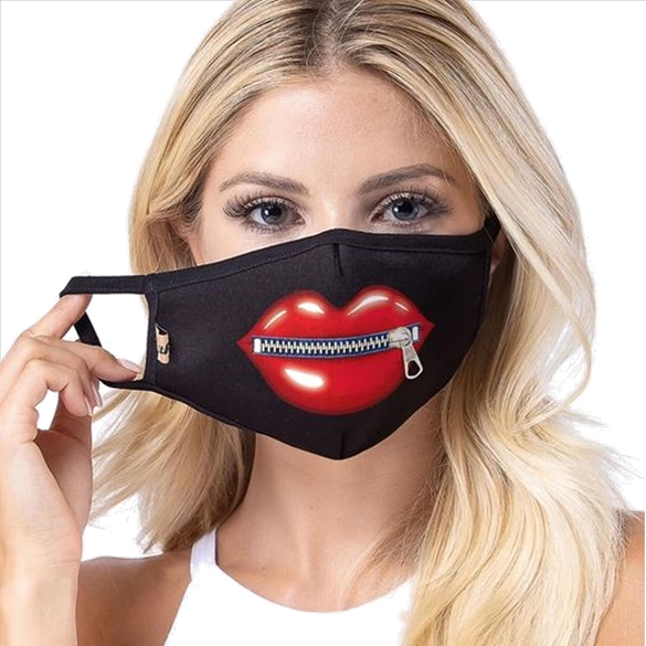Lip with Zipper Face Mask - Black