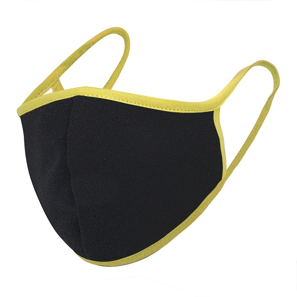 Black / Yellow Solid Filter Washable and Reusable Face Mask