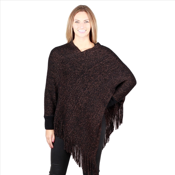 6 Pack Sparkling Ponchos with Sleeves - Black