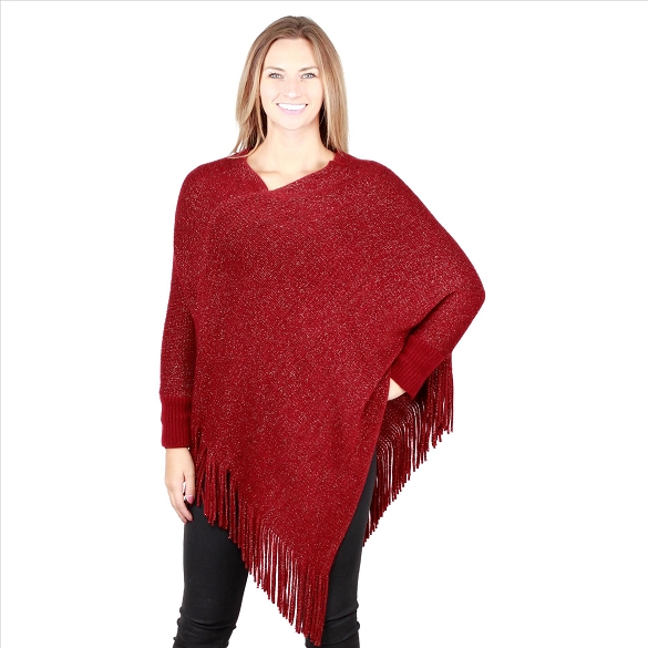 6 Pack Sparkling Ponchos with Sleeves - Burgundy