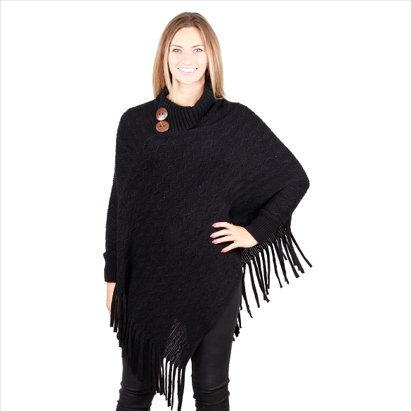6 Pack Coconut Button Collar Ponchos with Sleeves - Black