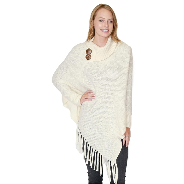 6 Pack Coconut Button Collar Ponchos - Ivory