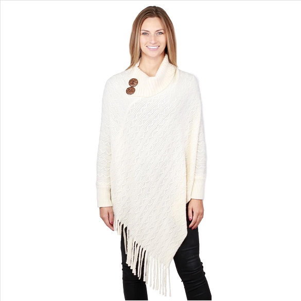 6 Pack Coconut Button Collar Ponchos with Sleeves - Ivory