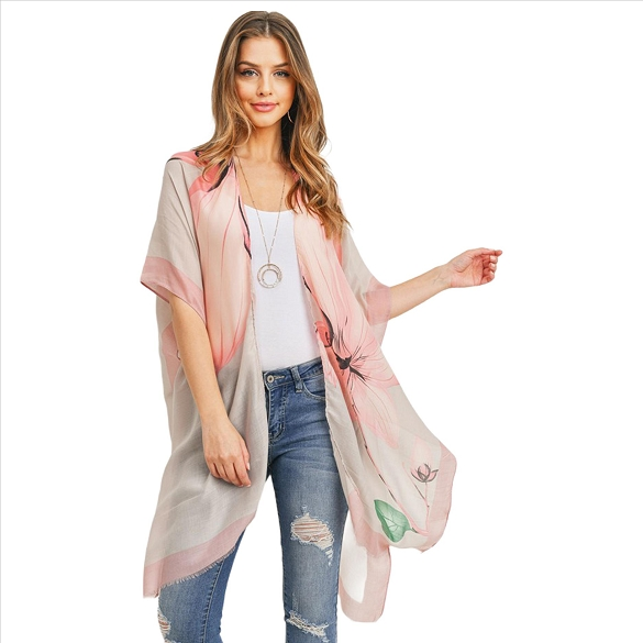 Pastel Floral Print Kimono with Side Slits