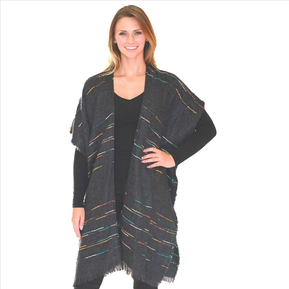 6 Pack Textured Cape with Colorful Accents - Charcoal