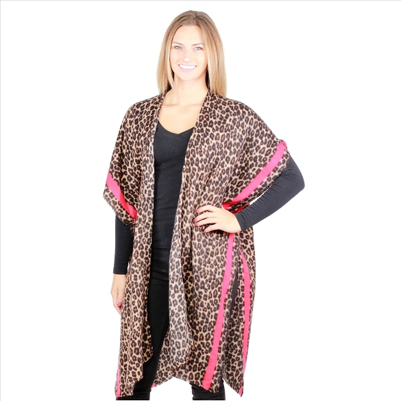 6 Pack Lightweight Cheetah Kimonos - Mocha / Red
