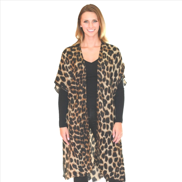 6 Pack Lightweight Cheetah Kimonos - Mocha