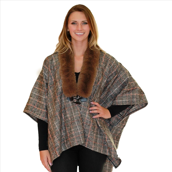 6 Pack Fur Collar Plaid Wrap - Taupe