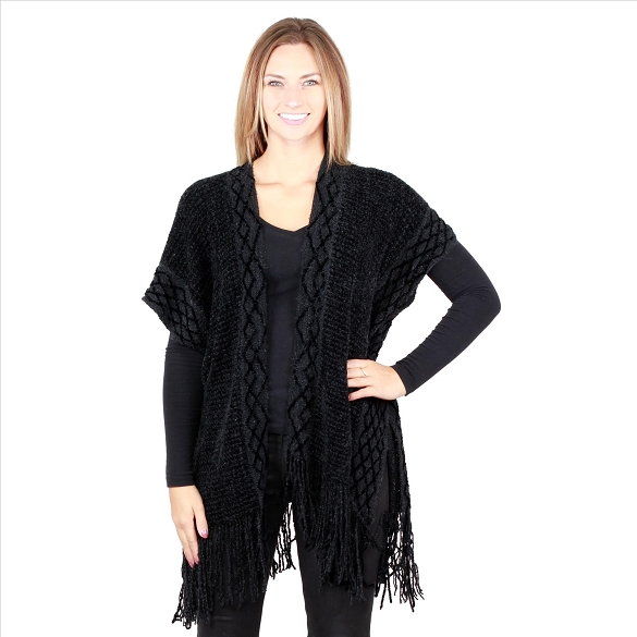 6 Pack Intricate Knit Cardigan - Black