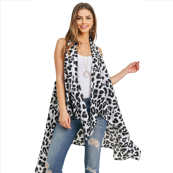 Black Spots on White Leopard Print Vest