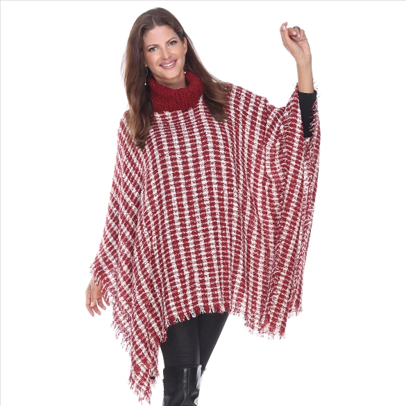 Gingham Plaid Turtleneck Poncho - Burgundy