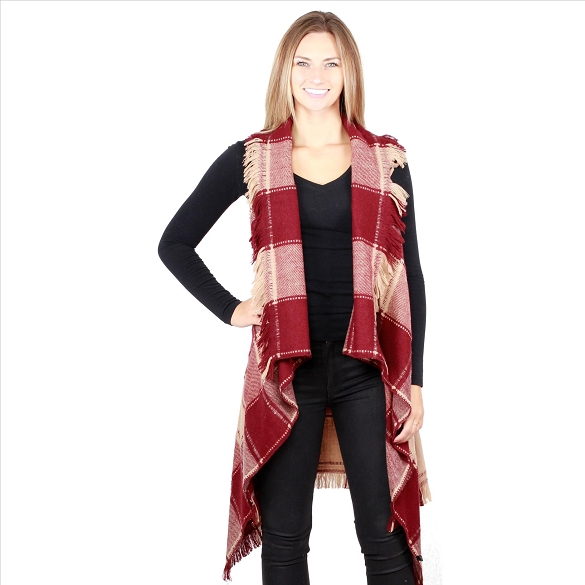6 Pack Striking Buffalo Plaid Vests - Burgundy / Taupe