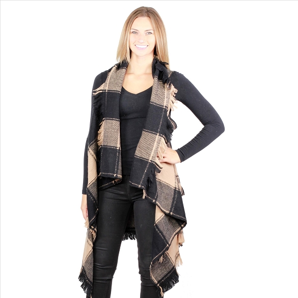 6 Pack Striking Buffalo Plaid Vests - Black / Beige