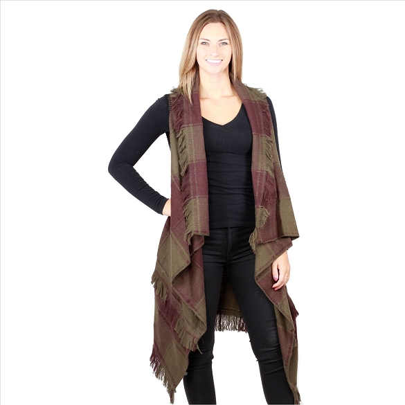6 Pack Striking Buffalo Plaid Vests - Olive / Brown