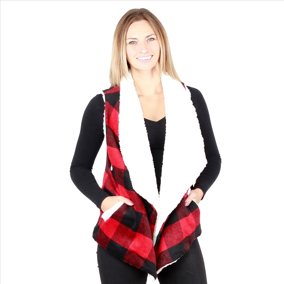 6 Pack Fur-Lined Plaid Vests with Pockets - Red / Black