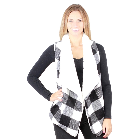 6 Pack Fur-Lined Plaid Vests with Pockets - Black / White