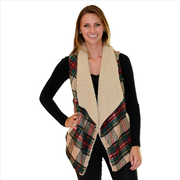 6 Pack Fur-Lined Plaid Vests with Pockets - Khaki