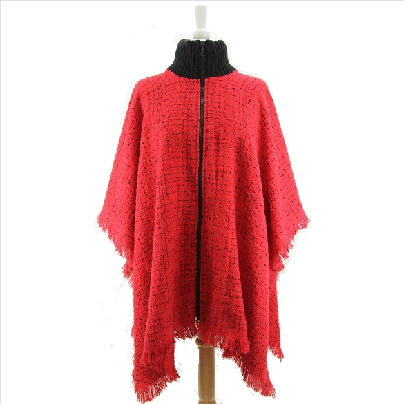 Zipper Front Textured Poncho - Red
