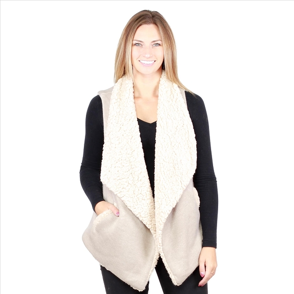 6 Pack Fur-Lined Vests with Pockets - Beige