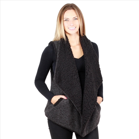 6 Pack Fur-Lined Vests with Pockets - Black