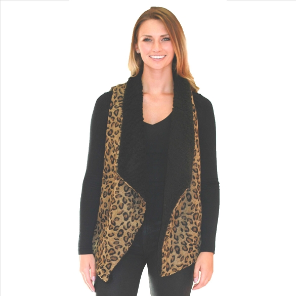 6 Pack Lined Vests with Pockets - Cheetah Print