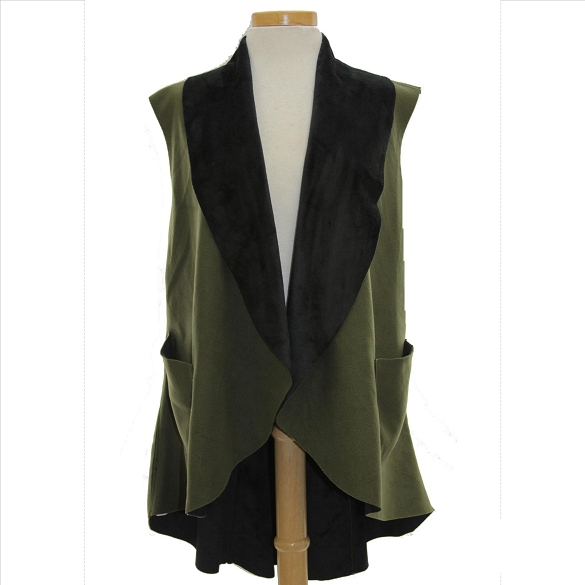 Ultra Suede Tuxedo Style Vest - Olive