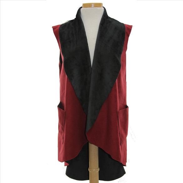Ultra Suede Tuxedo Style Vest - Burgundy