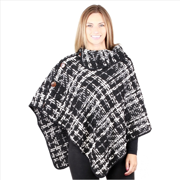 6 Pack Awesome Coconut Button Ponchos - Black
