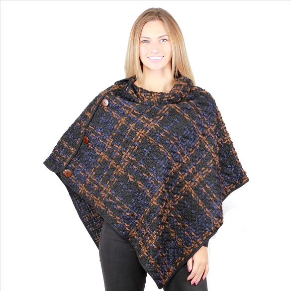 6 Pack Awesome Coconut Button Ponchos - Navy