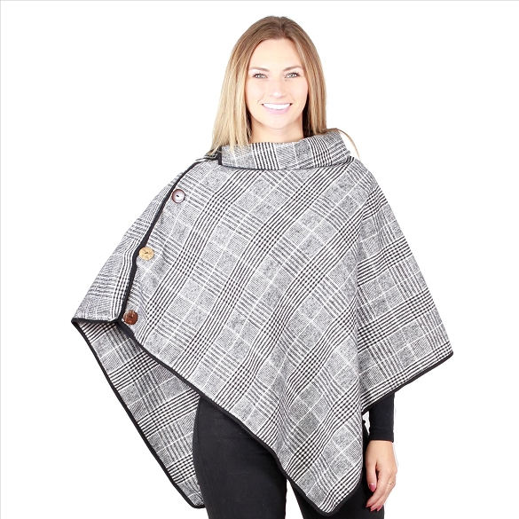 6 Pack Coconut Button Plaid Ponchos - Black / White