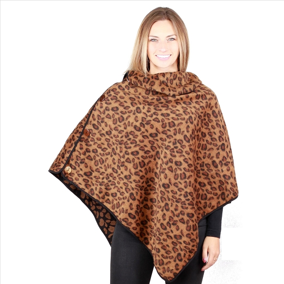 6 Pack Coconut Button Cheetah Print Ponchos