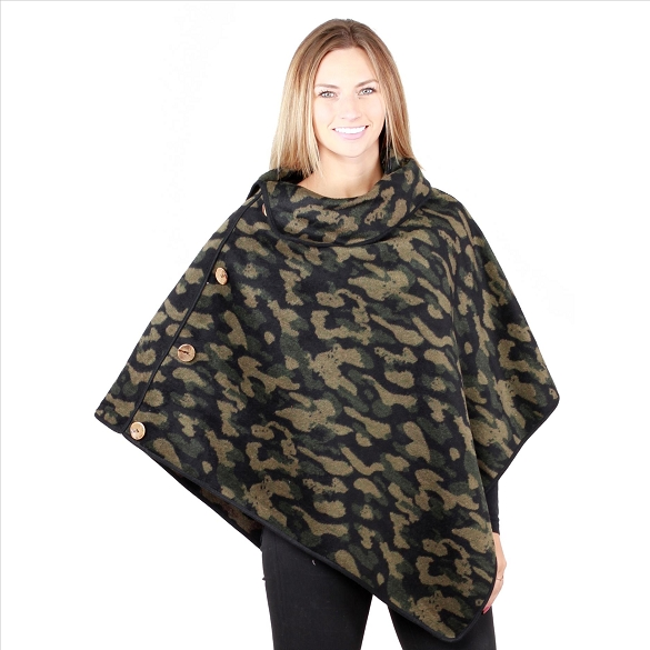 6 Pack Coconut Button Camo Print Ponchos