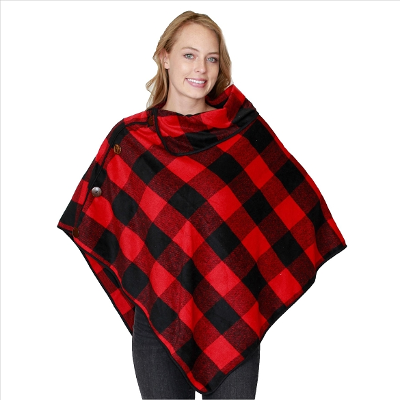 6 Pack Coconut Button Buffalo Plaid Ponchos - Red / Black