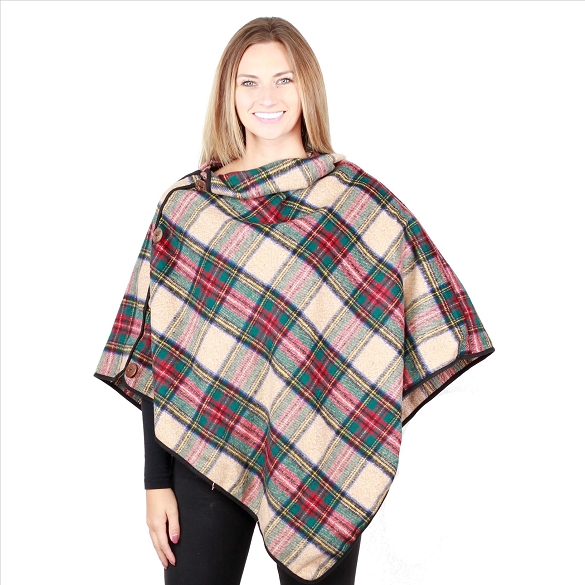 6 Pack Coconut Button Plaid Ponchos - Khaki