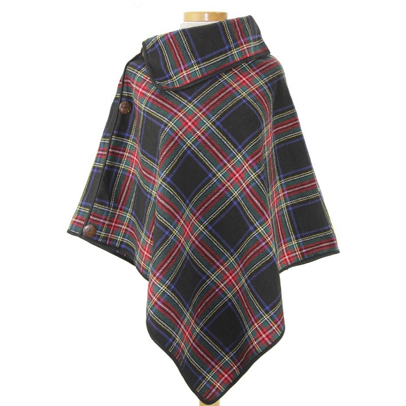 Coconut Button Plaid Ponchos - Navy