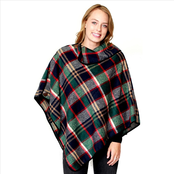 6 Pack Coconut Button Plaid Ponchos - Green