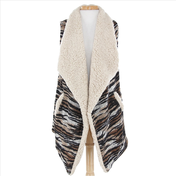 Fur-Lined Tiger Stripe Vest