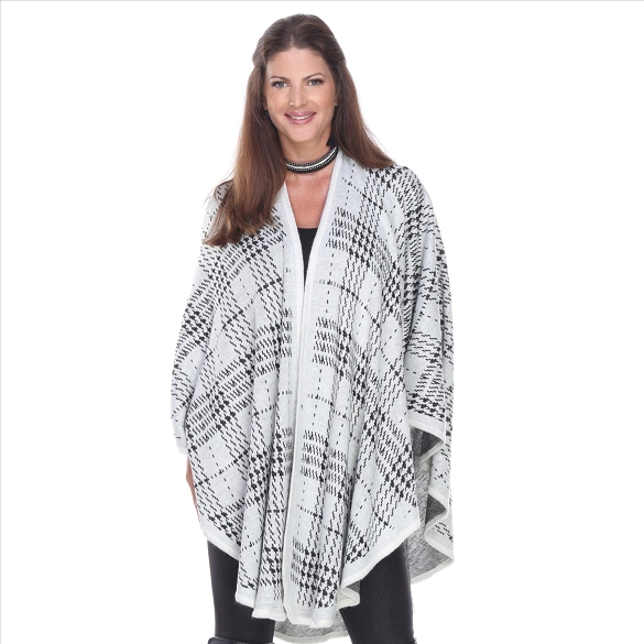Herringbone Knit Cape - White