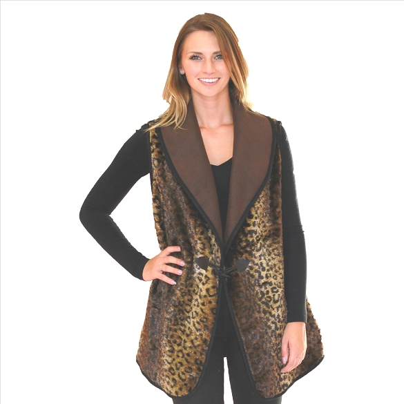 6 Pack Lined Vests with Pockets - Leopard Print