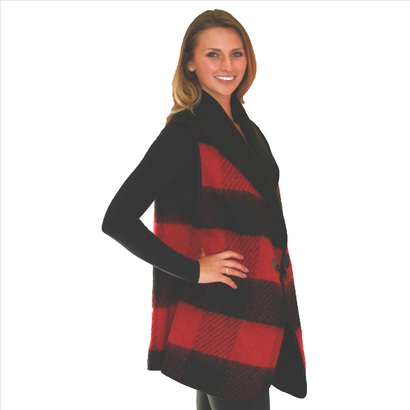 6 Pack Lined Vests with Pockets - Buffalo Plaid - Red / Black