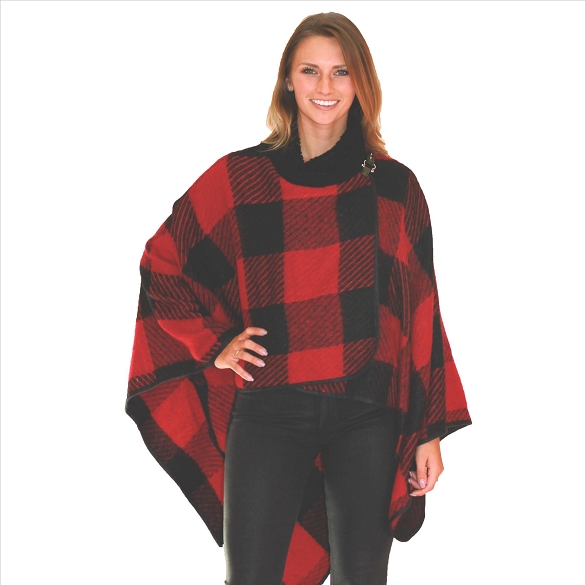 6 Pack Buffalo Plaid Wraps with Fur Collar - Red / Black