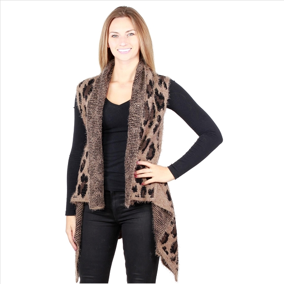 6 Pack Awesome Mohair Feel Vest - Cheetah Print Taupe