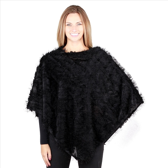 6 Pack Mohair Feel Ponchos - Black